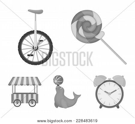 Lollipop, Trained Seal, Snack On Wheels, Monocycle.circus Set Collection Icons In Monochrome Style V