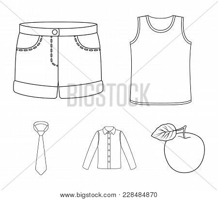 Shirt With Long Sleeves, Shorts, T-shirt, Tie.clothing Set Collection Icons In Outline Style Vector