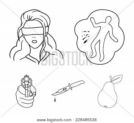 A Crime Scene, A Bloody Knife, A Hostage, A Directed Pistol. Crime Set Collection Icons In Outline S