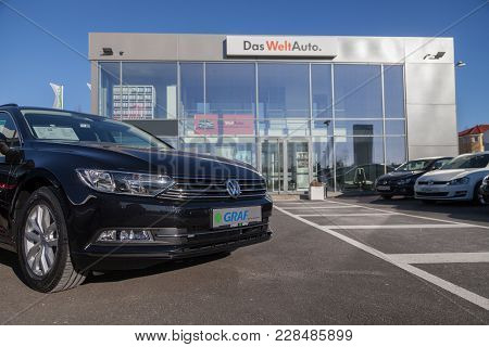 Fuerth / Germany - February 25, 2018: Volkswagen On A Vw Car. Volkswagen Is A German Automaker Found