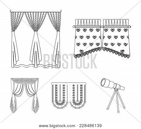 Curtains, Stick, Cornices, And Other  Icon In Outline Style.bow, Fabric, Tulle Icons In Set Collecti