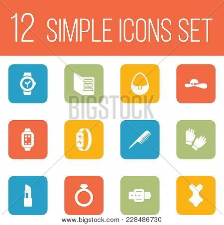 Set Of 12 Decorating Icons Set. Collection Of Clock, Wrist Watch, Lipstick And Other Elements.