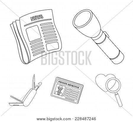 Flashlight, Newspaper With News, Certificate, Folding Knife.detective Set Collection Icons In Outlin