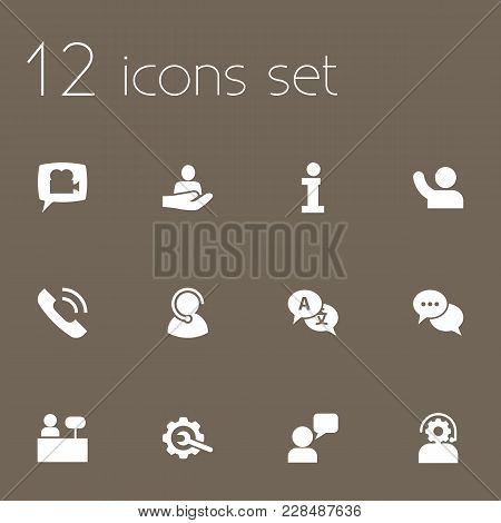 Set Of 12 Backing Icons Set. Collection Of Interpreter, Information Sign, Repair And Other Elements.