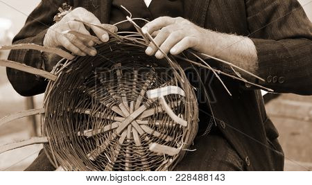 Senior Creates A Straw Basket With Sepia Toned Effect