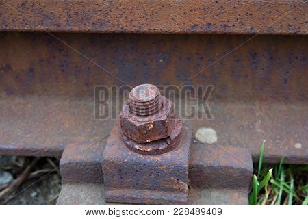 Old Rusty Rails In Station Aproved For Demolition. Railway Details, Rails Joint With Gap, Nut And Sc