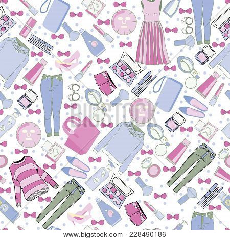 Vector Of Hand Drawn Fashion Collection Of Clothes And Accessories Pattern Illustration. Stylish Wom