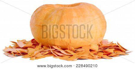 A Whole Round Oval Peeled Fruit Of Ripe Orange Pumpkin. Lie On The Peel Horizontally Close-up Isolat