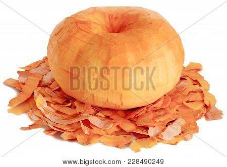 A Whole Round Oval One Peeled Fruit Of Ripe Orange Pumpkin. Lie On The Peel Horizontally Close-up Is
