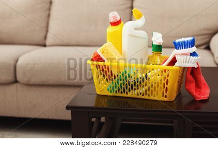Bucket With Sponges, Chemicals Bottles, Brushes, Towel. Household Equipment, Spring-cleaning, Tidyin