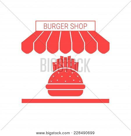 Burger Shop, Fast Food Rastaurant Single Flat Icon. Striped Awning And Signboard. A Series Of Shop I