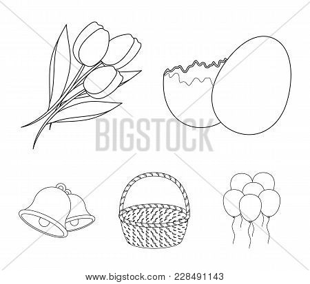 Chocolate Egg, Bells, Basket And Flowers.easter Set Collection Icons In Outline Style Vector Symbol