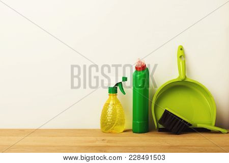 Colorful Group Of Green Cleaning Supplies For Natural And Environmentally Friendly Cleaning. House K