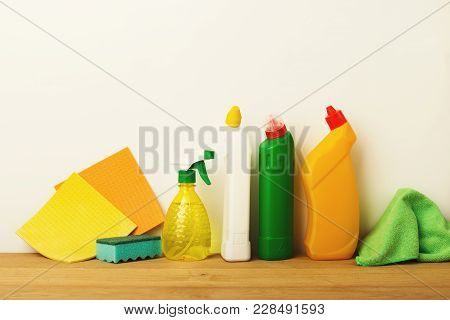 Colorful Group Of Green Cleaning Supplies For Natural And Environmentally Friendly Cleaning. Bottles