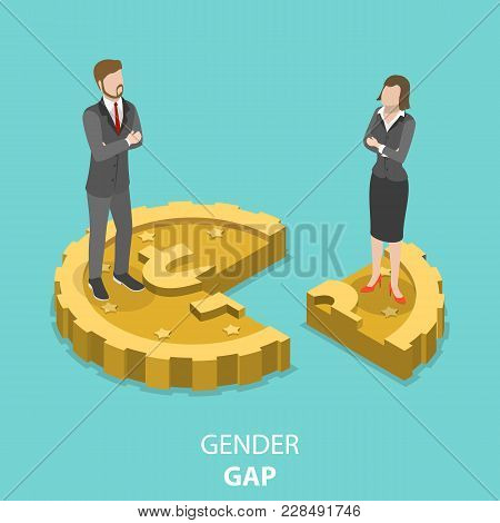 Gender Gap Flat Isometric Vector Concept. Man And Woman Are Standing On The Parts Of The One Coin. M