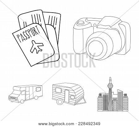Vacation, Photo, Camera, Passport .family Holiday Set Collection Icons In Outline Style Vector Symbo