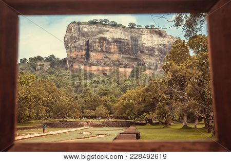 Sigiriya Mountain And People Walking To Famous Historical And Archaeological Site. Photo Frame And P