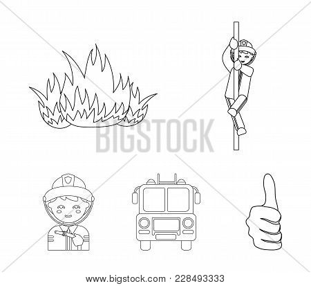 Fireman, Flame, Fire Truck. Fire Department Set Collection Icons In Outline Style Vector Symbol Stoc
