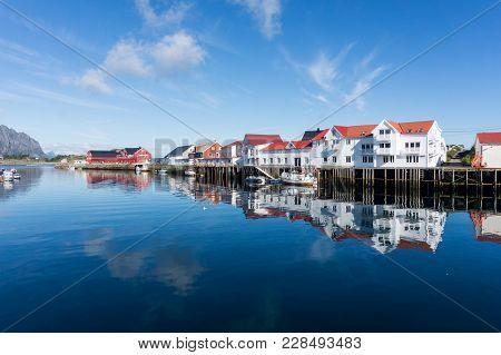 White Houses In A Fishing Village, Henningsvaer, Lofoten Archipelago, Norway. National Tourist Route
