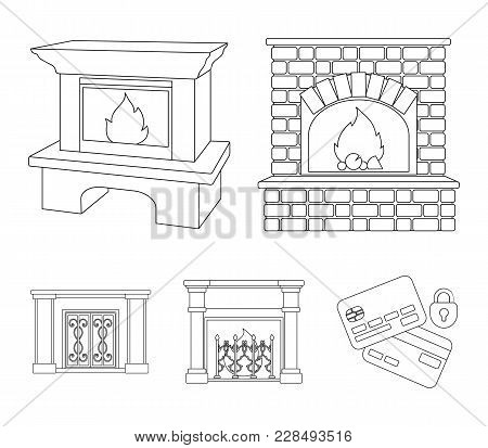 Fire, Warmth And Comfort.fireplace Set Collection Icons In Outline Style Vector Symbol Stock Illustr