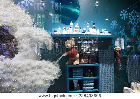 London, England - December 18 , 2017 Christmas Showcases At Debenhams. Department Store Chain Sellin