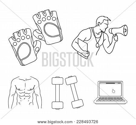 Personal Trainer, Gloves, Dumbbells, A Male Torso. Fitness Set Collection Icons In Outline Style Vec