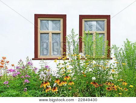 Flowerbed under vintage window