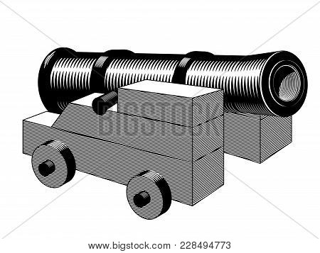 Vintage Engraving Style Old Cannon Vector Illustration