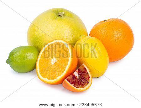 Isolated Citrus Fruits. Grapefruit, Orange, Lemon And Lime Isolated On White Background