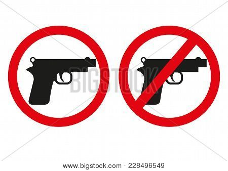Yes Or No To Gun Control. Sign With Both Handgun Allowed And Banned. Symbolic Icon Design Includes A
