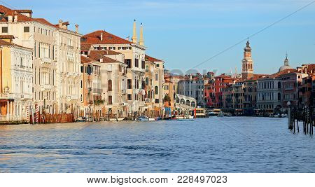 Venice Italy The Grand Canal Called Canal Grande In Italian Langauge At Early Morning
