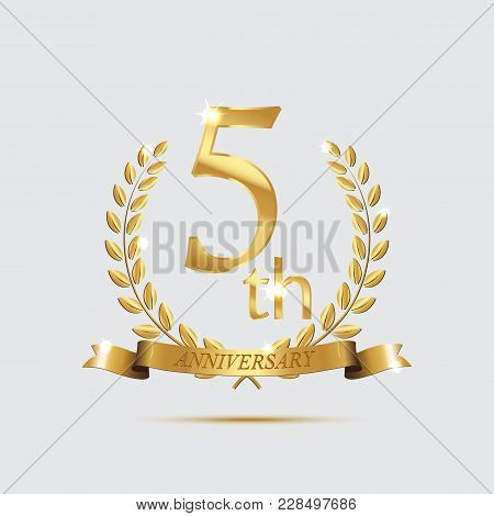 5-th Anniversary Golden Symbol. Golden Laurel Wreaths With Ribbons And Fifth Anniversary Year Symbol