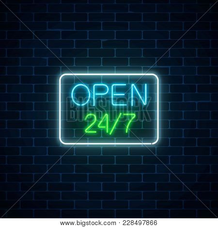 Glowing Neon Sign Of Open 24 Hours 7 Days A Week Store In Geometric Shape On A Brick Wall Background