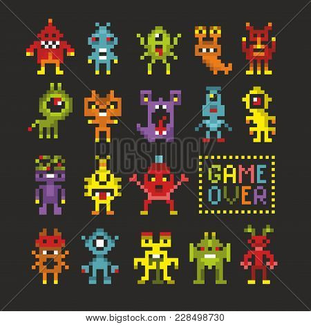 Cool Set Of 8 Bit Monsters. Game Over Banner In Vector.
