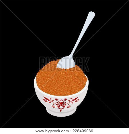 Red Caviar With Spoon. Fish Caviar Delicacy Meal.