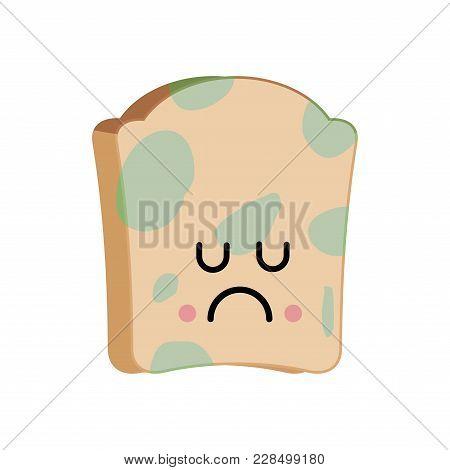 Sad Bread With Mold Emoji. Foul Food Vector Illustration