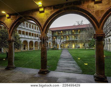 Nogueira De Ramuin, Spain - December 28, 2017: Cloister Of The Monastery Of The Parador De Santo Est