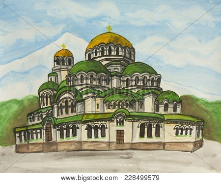 Alexander Nevsky Cathedral In Sofia, Bulgaria, Painting Gouache