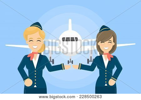 Airplane With Stewardesses On Blue Background. Smiling Woman In Uniform.