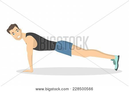 Man Doing Plank. Fitness Exercise On White Background.