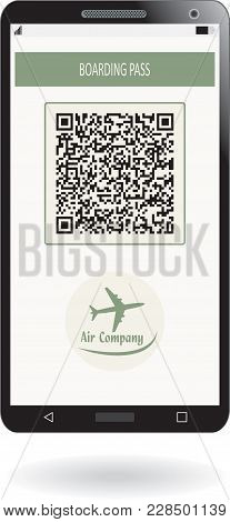 Mobile Phone With Mobile Boarding Pass Airline Ticket. Concept Of Modern Travel Or Journey. Vector I