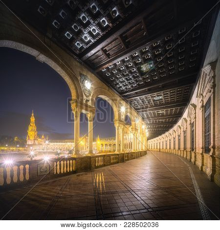 Night View Of Balcony Plaza De Espana In Seville At Night With Lights, Spain, Andalusia