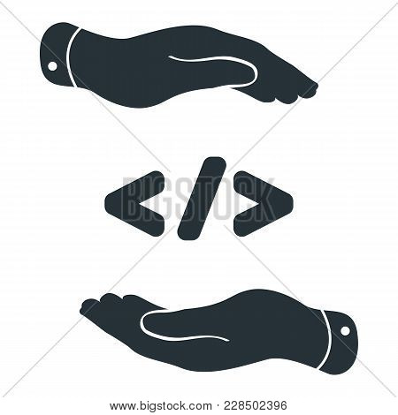 Flat Hands Take Care About Code Symbol. Code Corner Icon Design Concept With Hands. Illustration For