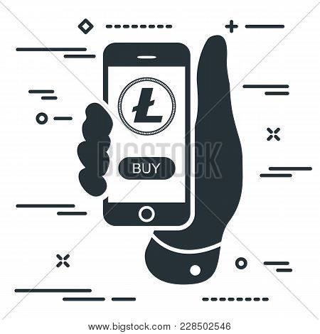 Buy Litecoin Cryptocurrency Per Click. Man Hand Holding Phone With Ltc Crypto Coin And Buy Button On