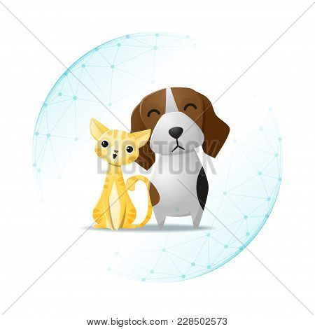 Pet Care Concept With Cat And Dog Protected In Polygonal Sphere Shield , Vector , Illustration
