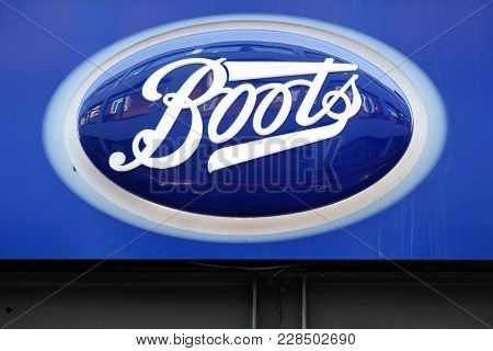 London, United Kingdom - January 31, 2018: Boots Logo On A Wall. Boots Is A Pharmacy Chain In The Un
