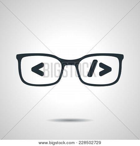 Flat Black Glasses With Code. Coder Or Programmer Symbol. Concept Of Software Developer Or Engineer
