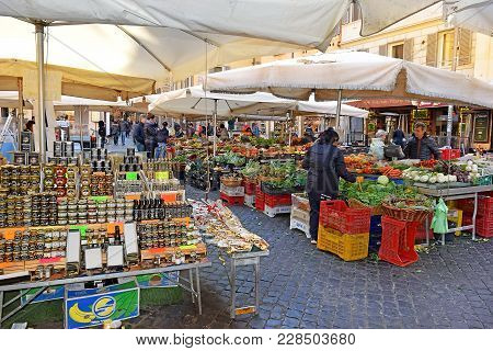 Rome, Italy - January 23: Famous Daily Food Market At Square Campo Dei Fiori On January 23, 2018, Ro