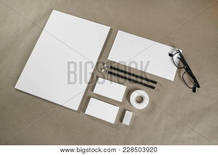 Blank Stationery Set On Craft Paper Background. Corporate Identity Template. Id Mockup. Mock Up For
