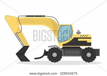 Isolated Yellow Excavator For Work On White.